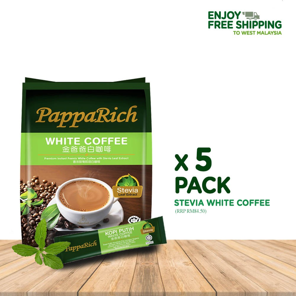 [5 Pack Bundle] PappaRich Stevia White Coffee (30g x 12s)