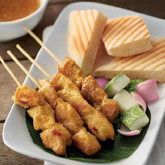 Naan with Chicken Satay (4 sticks)