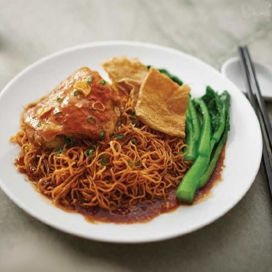 Dry Egg Noodles with Curry Chicken