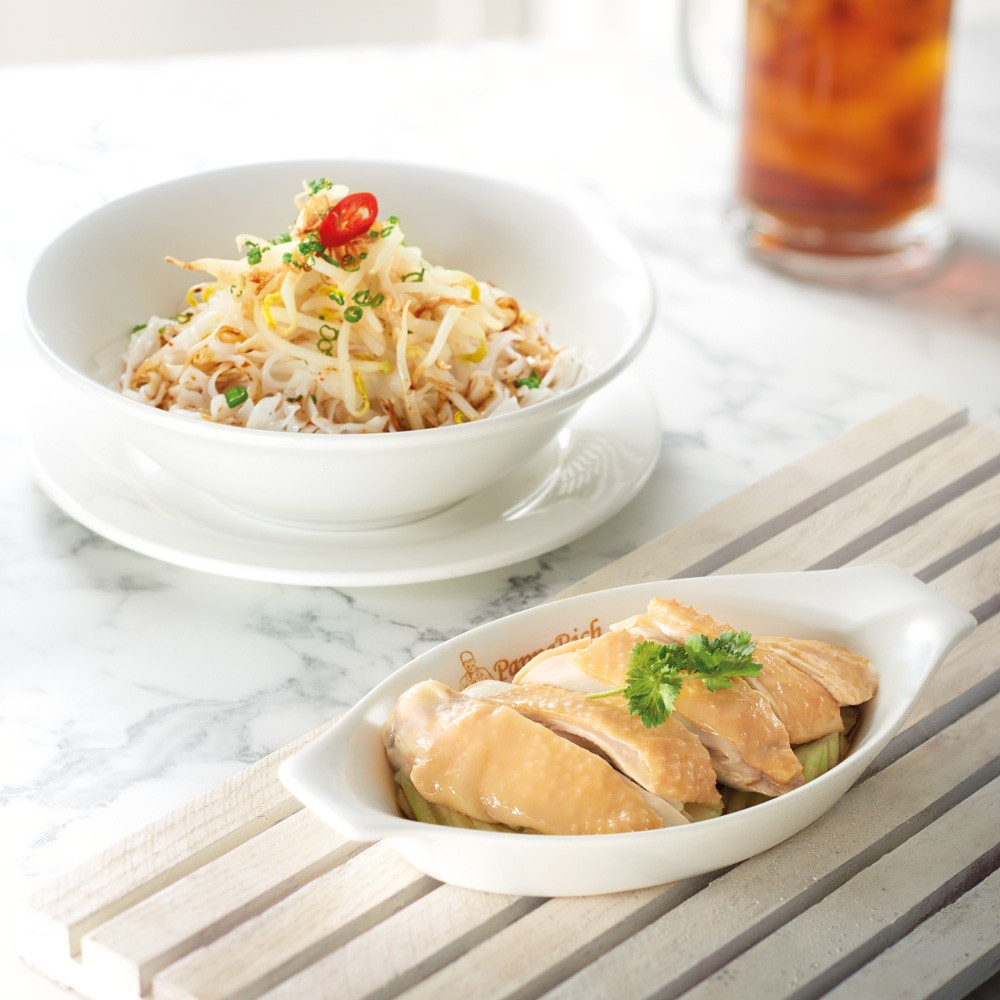 Dry Kway Teow with Steamed Chicken