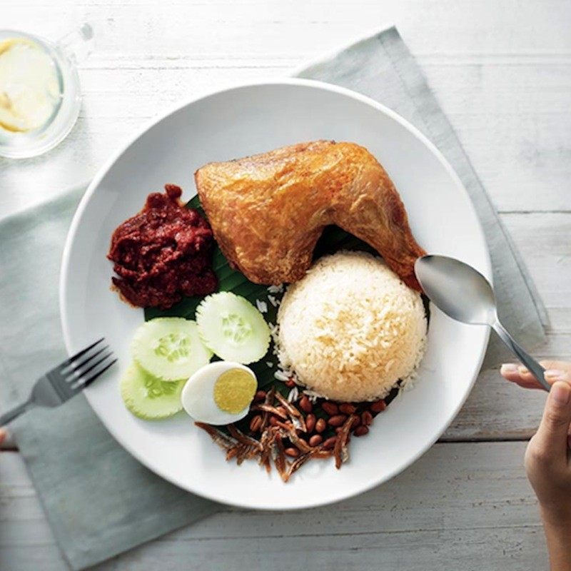Nasi Lemak with Fried Chicken