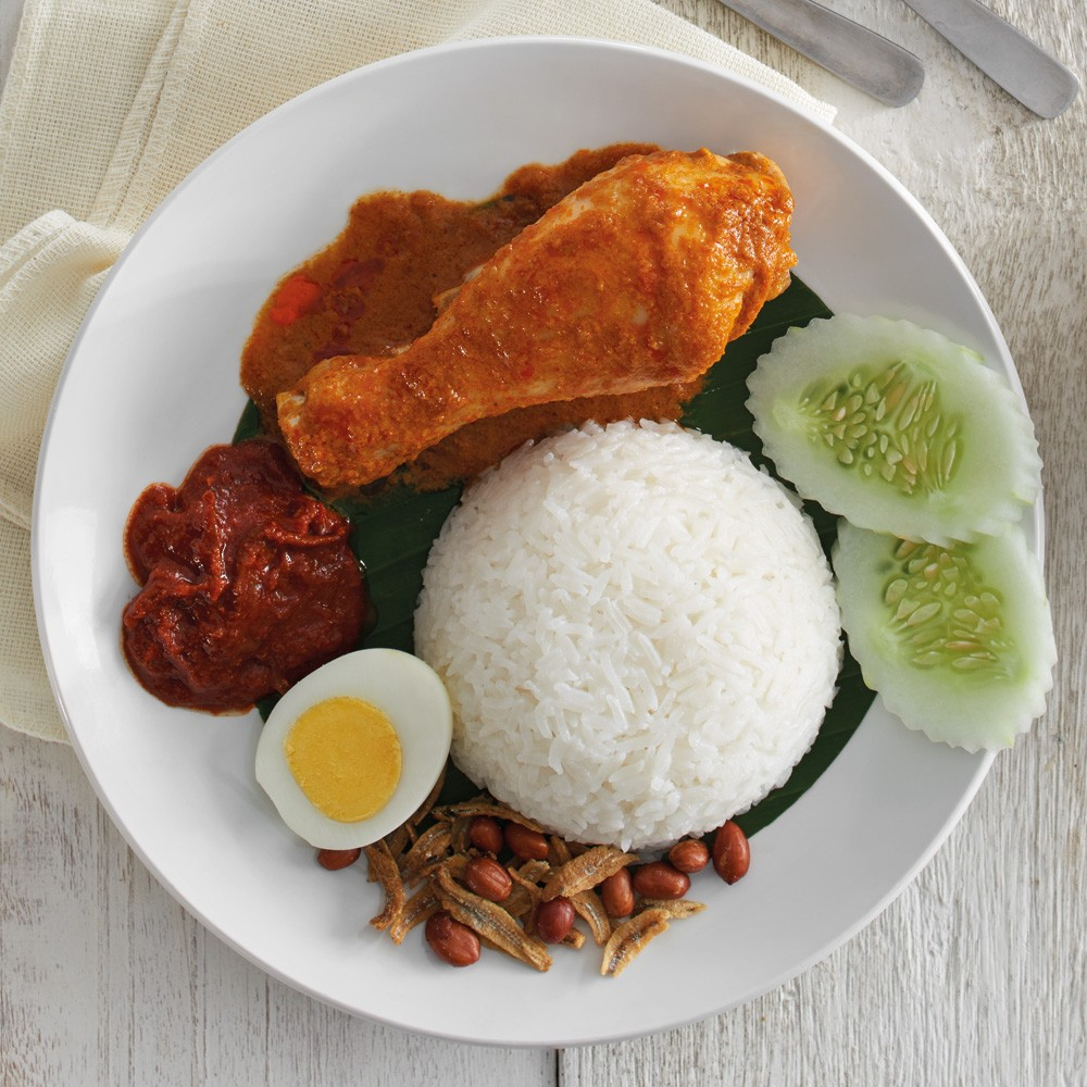 Nasi Lemak with Curry Chicken
