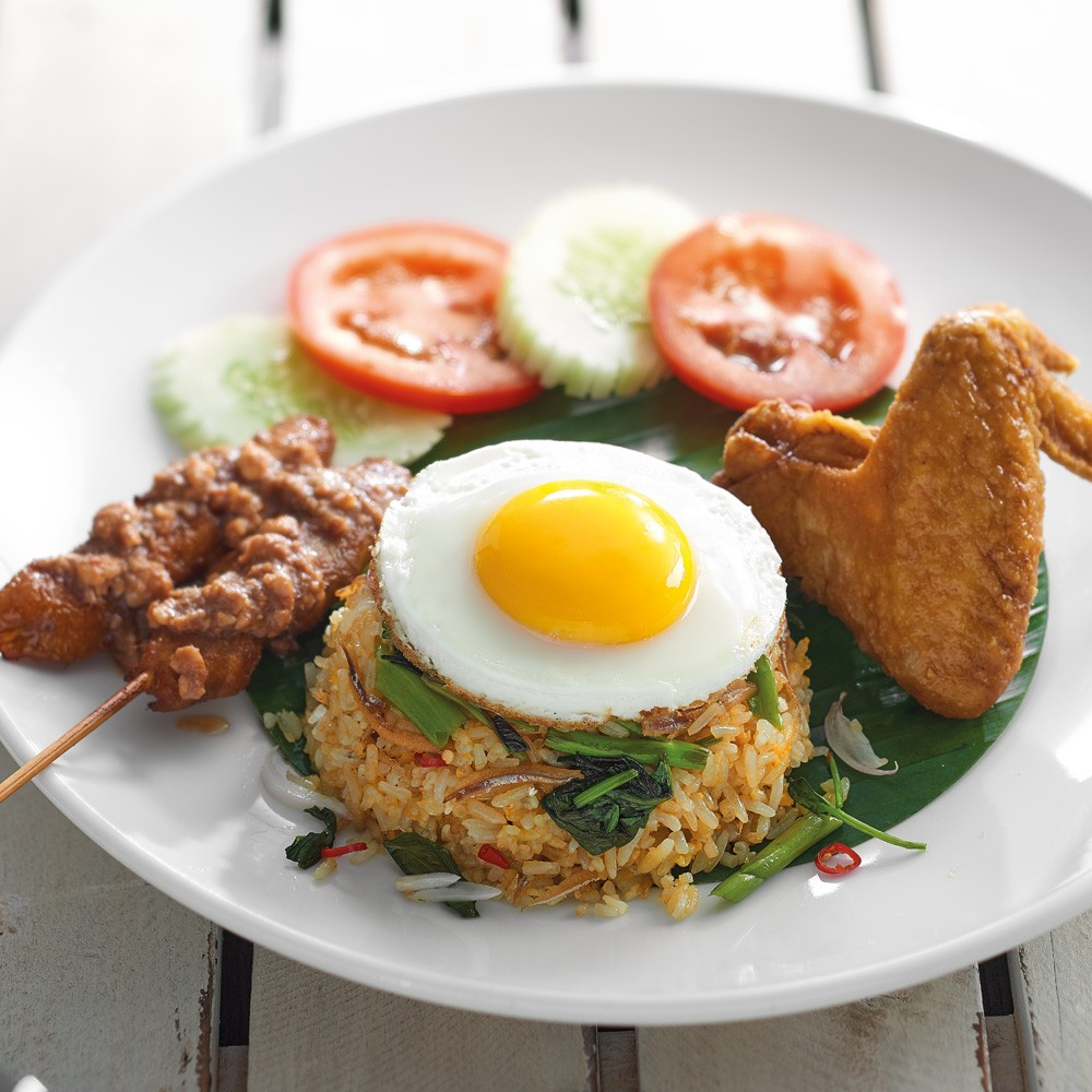 Kampung Fried Rice with Egg + Chicken Wing (1 Piece) + Chicken Satay (2 Sticks)