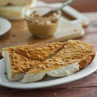 Roti Kulit Bakar with Peanut Butter