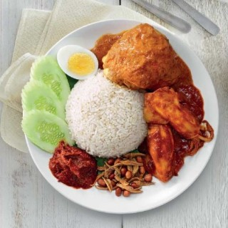 Nasi Lemak with Curry Chicken + Sweet & Spicy Sotong (2 Pieces)