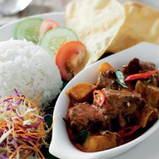 Steamed Rice with Curry Mutton