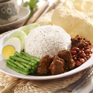 Vegetarian Nasi Lemak with Curry Mutton